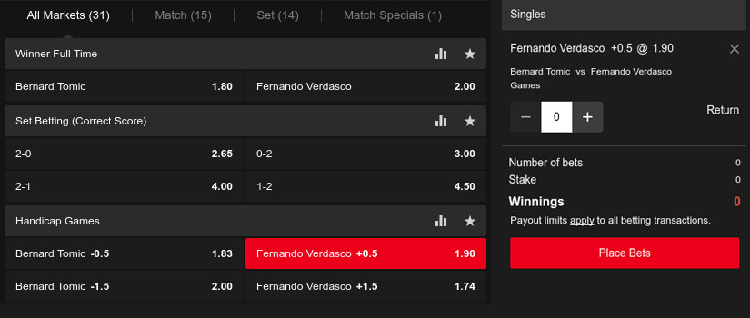 tennis handicap bet