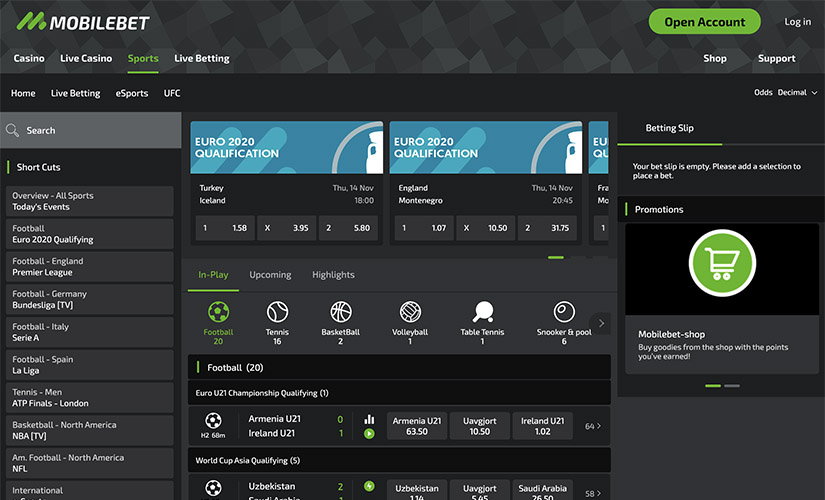 Mobilebet screenshot